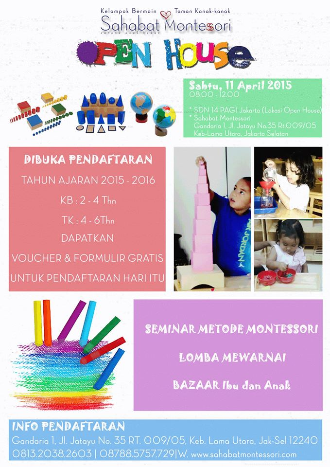 SIANG AYAH BUNDA...  APRIL nanti Sahabat Montessori akan mengadakan Open House!<br><br>  Selain harg...
